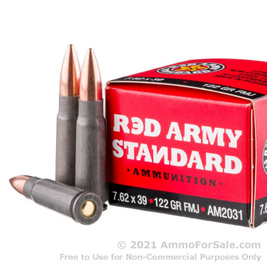 20 Rounds of 122gr FMJ 7.62x39mm Ammo by Red Army Standard