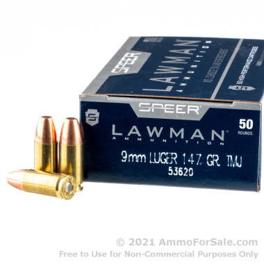 50 Rounds of 147gr TMJ 9mm Ammo by Speer