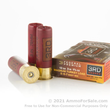 5 Rounds of 1 3/4 ounce #5-6-7 shot 12ga Ammo by Federal