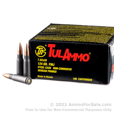 100 Rounds of 124gr FMJ 7.62x39mm Ammo by Tula
