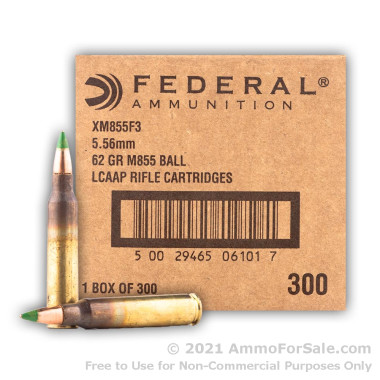 300 Rounds of 62gr FMJ 5.56x45 Ammo by Federal