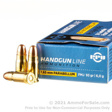 50 Rounds of 93gr FMJ .30 Luger (7.65x21mm Parabellum) Ammo by Prvi Partizan