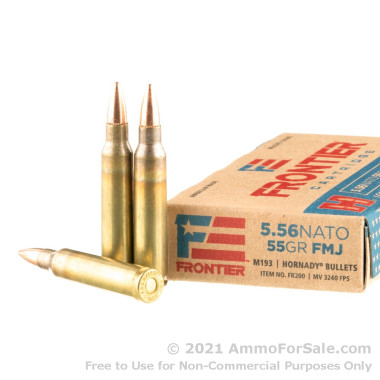 20 Rounds of 55gr FMJ M193 5.56x45 Ammo by Hornady