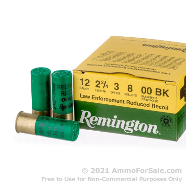 """250 Rounds of 2-3/4"""" #00 Buck 12ga Ammo by Remington LE Reduced Recoil"""