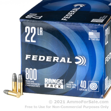 800 Rounds of 40gr LRN .22 LR Ammo by Federal
