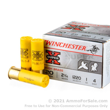250 Rounds of 1 ounce #4 shot 20ga Ammo by Winchester