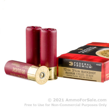 "5 Rounds of 2-3/4"" #00 Buck 12ga Ammo by Federal Vital-Shok"