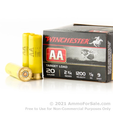 250 Rounds of 7/8 ounce #9 shot 20ga Ammo by Winchester AA