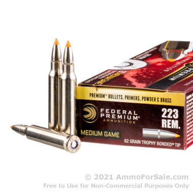 20 Rounds of 62gr Trophy Bonded Tip .223 Ammo by Federal Vital-Shok