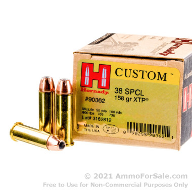 250 Rounds of 158gr JHP .38 Spl Ammo by Hornady