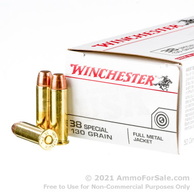 50 Rounds of 130gr FMJ .38 Spl Ammo by Winchester