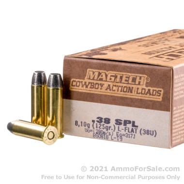 50 Rounds of 125gr LFN .38 Spl Ammo by Magtech