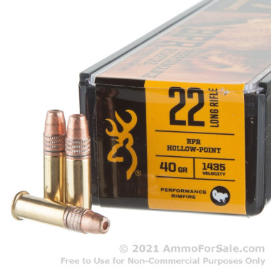 100 Rounds of 40gr HP .22 LR Ammo by Browning Performance Rimfire