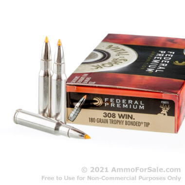 20 Rounds of 180gr Trophy Bonded Tip .308 Win Ammo by Federal Vital-Shok