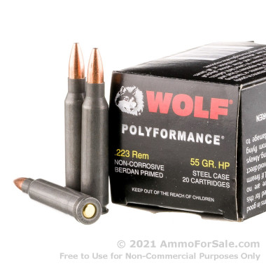 500  Rounds of 55gr HP .223 Ammo by Wolf