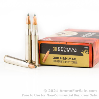 20 Rounds of 180gr JHP .300 H&H Mag Ammo by Federal