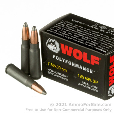 1000 Rounds of 125gr SP 7.62x39mm Ammo by Wolf