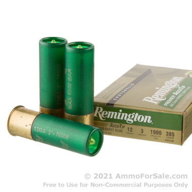 5 Rounds of 385gr Sabot Slug 12ga Ammo by Remington