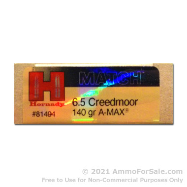 20 Rounds of 140gr Match A-MAX 6.5mm Creedmoor Ammo by Hornady