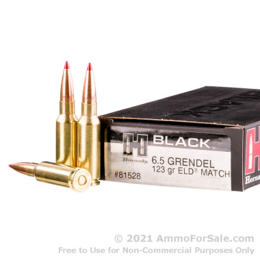 200 Rounds of 123gr ELD Match 6.5mm Grendel Ammo by Hornady
