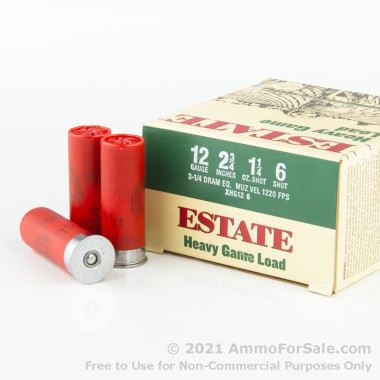 """25 Rounds of 2-3/4"""" 1 1/4 ounce #6 shot 12ga Ammo by Estate Heavy game Load"""