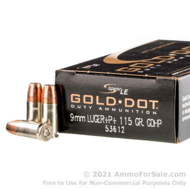 1000 Rounds of 115gr JHP Gold Dot 9mm + P + Ammo by Speer