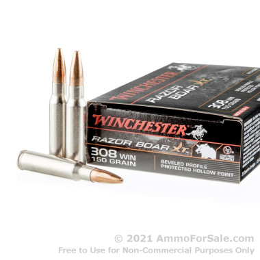 20 Rounds of 150gr BPPHP .308 Win Ammo by Winchester Razorback XT