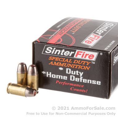20 Rounds of 75gr HP .380 ACP Ammo by SinterFire Special Duty