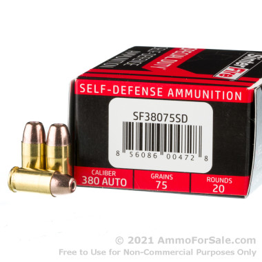 20 Rounds of 75gr Frangible HP .380 ACP Ammo by SinterFire