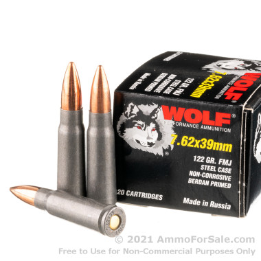 20 Rounds of 122gr FMJ 7.62x39mm Ammo by Wolf