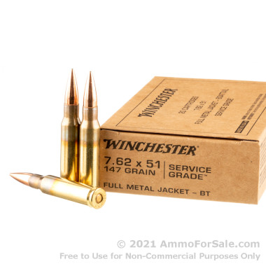 20 Rounds of 147gr FMJBT 7.62x51mm Ammo by Winchester