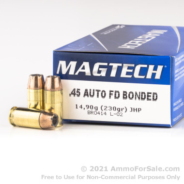 1000 Rounds of 230gr JHP .45 ACP Ammo by Magtech First Defense