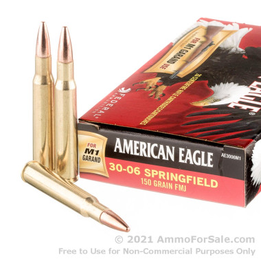 20 Rounds of 150gr FMJ 30-06 Springfield Ammo by Federal