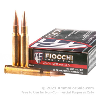 200 Rounds of 150gr FMJ 30-06 Springfield Ammo by Fiocchi