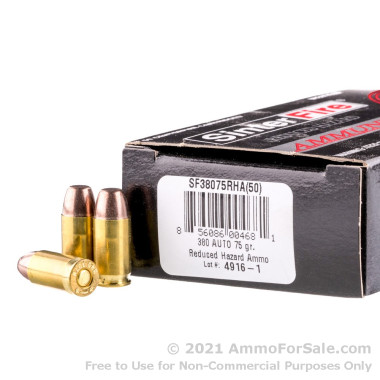 50 Rounds of 75gr Frangible .380 ACP Ammo by SinterFire RHA