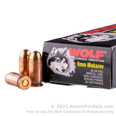 50 Rounds of 92gr FMJ 9x18mm Makarov Ammo by Wolf