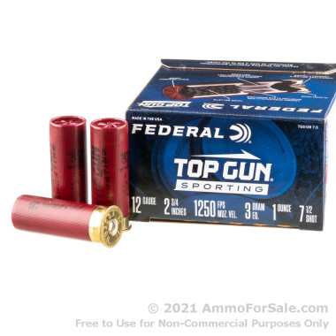"""250 Rounds of 2-3/4"""" 1 ounce #7.5 shot 12ga Ammo by Federal"""