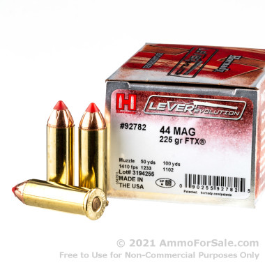 200 Rounds of 225gr FTX .44 Mag Ammo by Hornady