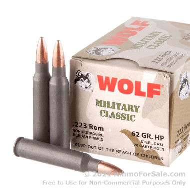 20 Rounds of 62gr HP .223 Ammo by Wolf