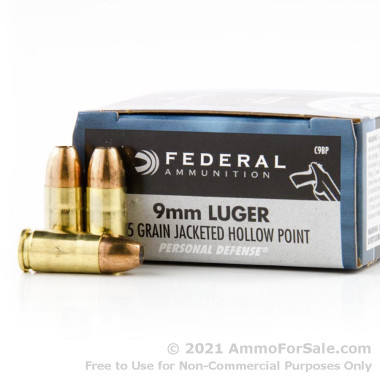 500 Rounds of 115gr JHP 9mm Ammo by Federal Personal Defense