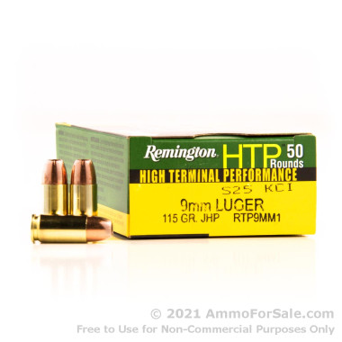 500  Rounds of 115gr JHP 9mm Ammo by Remington