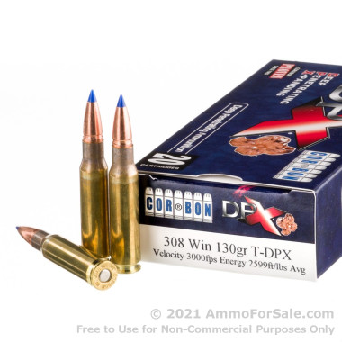 20 Rounds of 130gr T-DPX .308 Win Ammo by Corbon