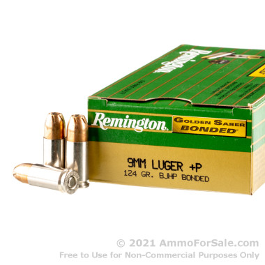 50 Rounds of 124gr +P JHP 9mm Ammo by Remington Bonded Golden Saber