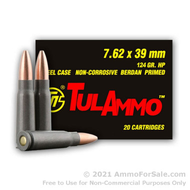 20 Rounds of 124gr HP 7.62x39mm Ammo by Tula