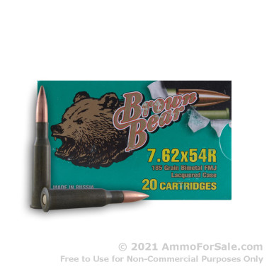 20 Rounds of 185gr FMJ 7.62x54r Ammo by Brown Bear