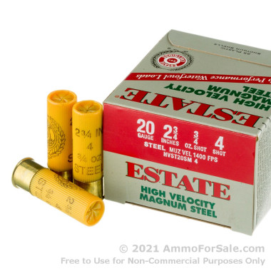 """25 Rounds of 2-3/4"""" 3/4 ounce #4 shot 20ga Ammo by Estate Cartridge HV"""
