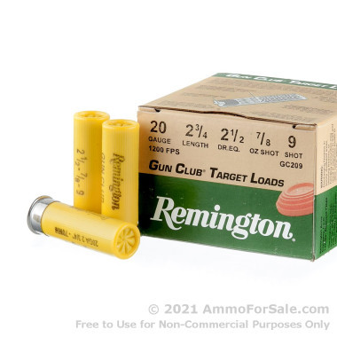 """25 Rounds of 2-3/4"""" 7/8 ounce #9 shot 20ga Ammo by Remington"""