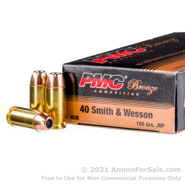 50 Rounds of 165gr JHP .40 S&W Ammo by PMC