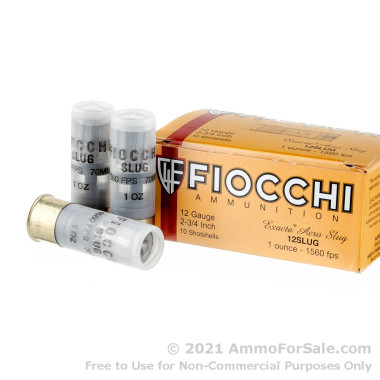 10 Rounds of 1 ounce Rifled Slug 12ga Ammo by Fiocchi
