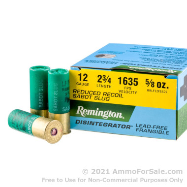 25 Rounds of Frangible Reduced Recoil Sabot Slug 12ga Ammo by Remington Defense